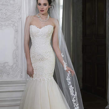 "Beautifully embroidered lace adorns this dramatic fit and flare, with a timeless sweetheart neckline and Chic organza skirt. Finished with covered button over zipper closure. Available with veil.   <a href=""http://www.maggiesottero.com/dress.aspx?style=5MS161"" target=""_blank"">Maggie Sottero Spring 2015</a>"