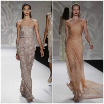 Mira esta elegante selección de vestidos de fiesta color nude de las tendencias 2014. Distinguidos diseños, con cautivadores toques de glitters y caidas llenas de gracia.  Foto: Monique Lhuillier 2014