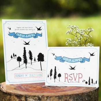 Faire-part de mariage dessiné à la main Boutique CuriousmeDesign sur Etsy.com