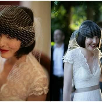 La voilette convient parfaitement aux mariées vintage aux cheveux courts. Photo: SugerLove Weddings