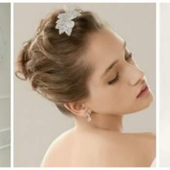 Tre idee per un'acconciatura da sposa con capelli mossi molto anni '50. Foto www.cosmobella.com e www.rosaclara.es