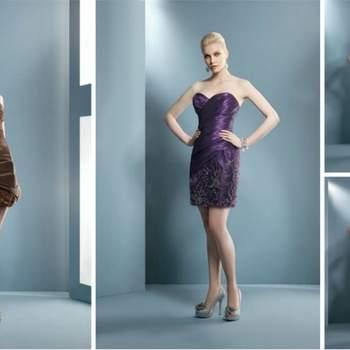 Matières soyeuses, décolletés asymétrique ou bustier, coupe près du corps ou plus ample, ces robes de cocktail ont beaucoup d'allure. Demetrios 2012