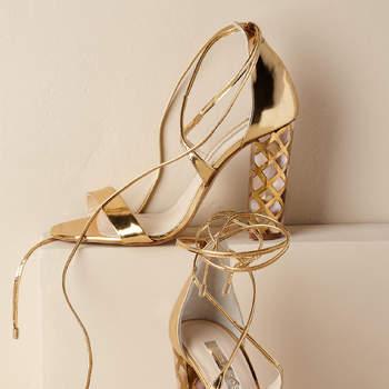 Chaussures de mariée dorées Courtney Heel, Bhldn
