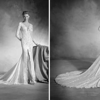 Wahrlich ein Design, das Sinnlichkeit ausstrahlt. Ein Meerjungfrauen-Kleid aus Chantilly, Tüll und Spitze gefertigt, das den Körper wie Tätowierung schmückt.