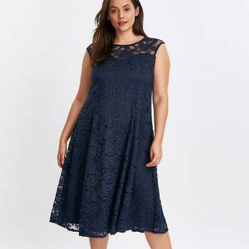 Grace Navy Blue Lace Skater Dress, Evans