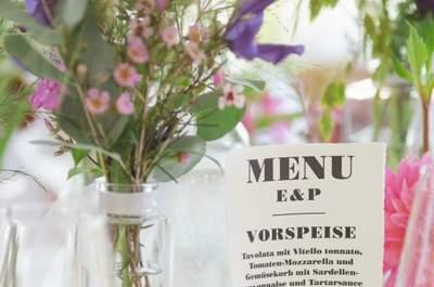 Tischdekoration für die Hochzeitsfeier zum Selbermachen