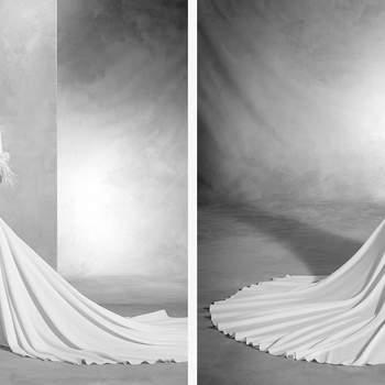 Brautkleid aus Crepe und Organza in einer Meerjungfrauen-Silhouette. Der Boot-Ausschnitt, die langen Ärmeln mit Strass und die Federn als Detail machen diese Robe einmalig.