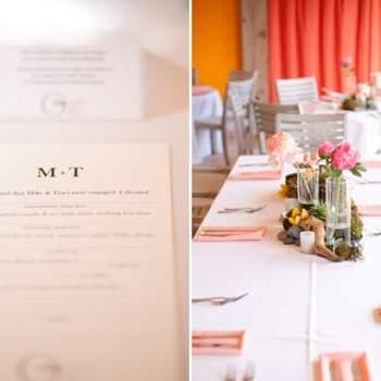 El menú y la decoración de la mesa.