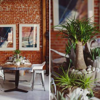 Une décoration verte et naturelle pour un mariage à la touche champêtre. Source : Green Wedding Shoes