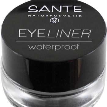 Eyeliner waterproof de color negro fuertemente pigmentado, resistente al agua. Sante