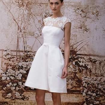 Mira esta bella selección de vestidos de novia cortos, ideales para la temporada estival. Delicados diseños con arreglos de encajes, muy en las tendencias 2014.   Foto: Monique Lhuillier