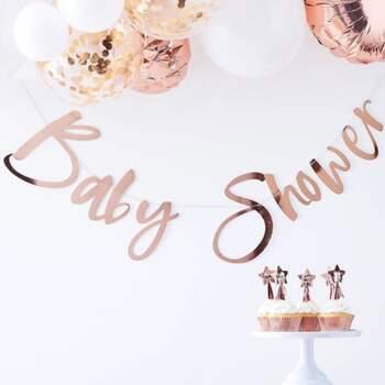 Guirlande Baby Shower Or Rose - The Wedding Shop !