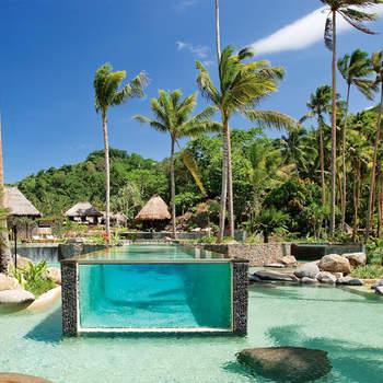 Reservada apenas a 80 visitantes de cada vez, uma pequena parte da ilha é desabitada, sendo a restante um hotel de 5 estrelas, com 25 villas voltadas para o mar, cada uma com a sua piscina e jardins tropicais. Foto: Laucala Island Resort
