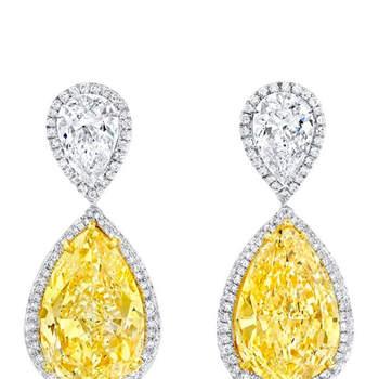 Pendientes de diamantes blancos y amarillos, Credits. Norman Silverman