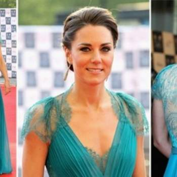 Kate Middleton a choisi une robe turquoise avec dos en dentelle signé Jenny Packham
