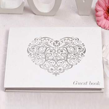 Livre D'or Vintage Cœur En Argent - The Wedding Shop !