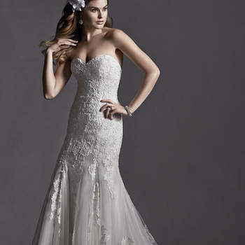 """Romantic lace adorns this A-Line wedding dress, accented with Swarovski crystals and demure sweetheart neckline. Finished with covered button over zipper and inner elastic closure.  <a href=""""http://www.sotteroandmidgley.com/dress.aspx?style=5SB081"""" target=""""_blank"""">Sottero and Midgley Spring 2015</a>"""