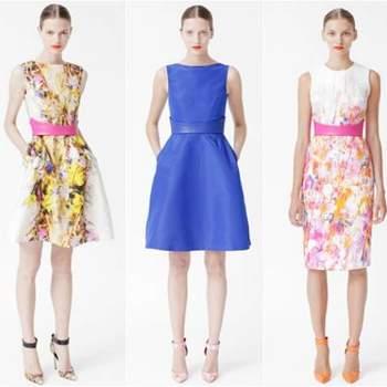 Monique Lhuillier apresentou, na New York Bridal Fashion Week, as suas coleções 2013 de vestidos de noiva, vestidos para damas de honra (bridesmaids) e Resort. Desta última, selecionamos os looks de festa que se destacaram.