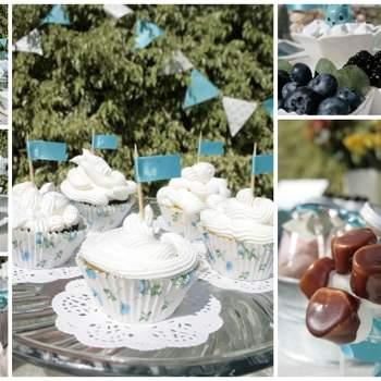 Ambiance chic et raffinée avec cette décoration de mariage à base de turquoise et de blanc. Source : Joy-eventos.com