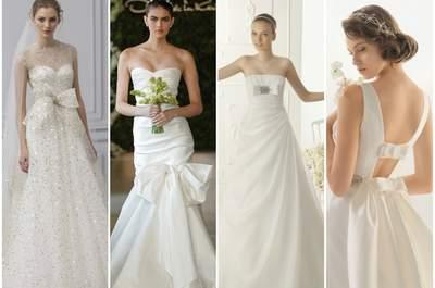 Abiti da sposa 2013 con fiocchi. Da sinistra Monique Lhuillier Bridal Collection 2013, Oscar de la Renta 2013, Aire Vintage 2013 e Rosa Clarà 2013.