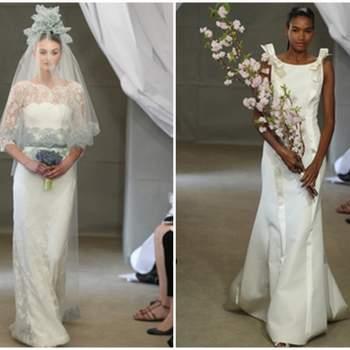 Izq: Vestido de novia con encaje chantilly. Derecha: Vestido con escote barco  con líneas verticales.