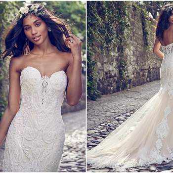 """Beaded lace motifs cascade over tulle in this fit-and-flare wedding dress, accenting the illusion plunging-sweetheart neckline and illusion scoop back. Lined with shapewear for a figure-flattering fit. Finished with covered buttons over zipper closure.  <a href=""""https://www.maggiesottero.com/maggie-sottero/autumn/11153?utm_source=zankyou&amp;utm_medium=gowngallery"""" target=""""_blank"""">Maggie Sottero</a>"""