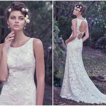 "A chic scoop neckline and dramatic double keyhole back, with crystal buttons, add a fresh twist to this sheath wedding dress, embellished with embroidered, sequined floral lace. Finished with an invisible zipper.   <a href=""https://www.maggiesottero.com/maggie-sottero/rhoda/9759"" target=""_blank"">Maggie Sottero</a>"