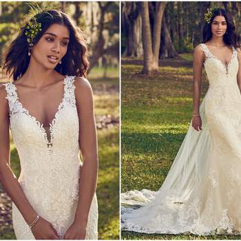"""Beaded lace motifs dance over tulle in this sheath wedding dress, accenting the illusion plunging V-neckline, illusion straps, and illusion back with keyhole. Finished with covered buttons over zipper closure. Detachable tulle train accented in lace motifs sold separately.   <a href=""""https://www.maggiesottero.com/maggie-sottero/bernadine/11158?utm_source=zankyou&amp;utm_medium=gowngallery"""" target=""""_blank"""">Maggie Sottero</a>"""