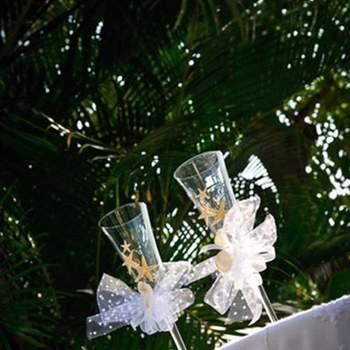 La decoración de la copa de los novios.