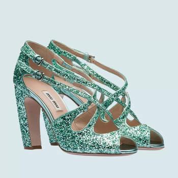Glitter Fabric Open Toe Sandals, miu miu