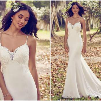 """Beaded lace motifs accent the bodice, illusion sweetheart neckline, illusion back, and illusion cutout train in this Aldora Crepe sheath wedding dress. Complete with beaded spaghetti straps and back ruching. Finished with crystal buttons and zipper closure.  <a href=""""https://www.maggiesottero.com/maggie-sottero/zoey/11201?utm_source=zankyou&amp;utm_medium=gowngallery"""" target=""""_blank"""">Maggie Sottero</a>"""
