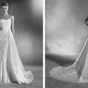 Brautkleid mit ultra-femininen Herz-Ausschnitt und sanften Meerjungfrauen-Schnitt. Zarte Chantilly-Spitze ist hier die Besonderheit!