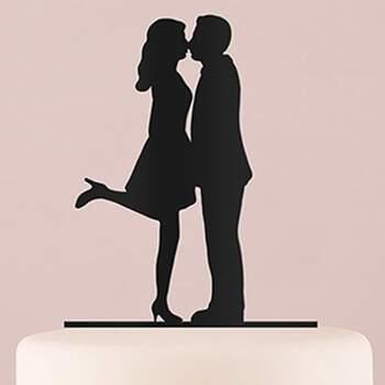 Cake Topper Silhouette Baiser Noir - The Wedding Shop !