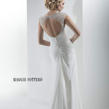 "Graceful and elegant, this lightweight Minuet chiffon sheath gown glitters with Swarovski crystal adorned sleeves and beaded motif at the waist. Featuring keyhole back and dramatic front slit. Finished with crystal buttons atop a zipper back closure.  <a href=""http://www.maggiesottero.com/dress.aspx?style=4MT939"" target=""_blank"">Maggie Sottero Platinum 2015</a>"