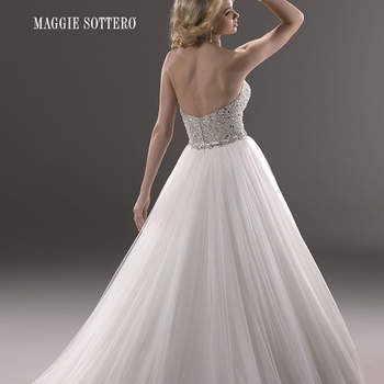 """A fairytale ballgown with fully encrusted bodice, this glamorous tulle dress sparkles with Swarovski crystals. Finished with a strapless sweetheart neckline, and a zipper over inner corset back closure.  <a href=""""http://www.maggiesottero.com/dress.aspx?style=3MS745"""" target=""""_blank"""">Maggie Sottero Platinum 2015</a>"""