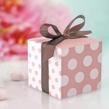 Boîte Cube Pois Shabby Chic 10 Pièces -  The Wedding Shop !