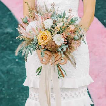 Bouquet de mariée fleurs multicolores Krista Mason Photography