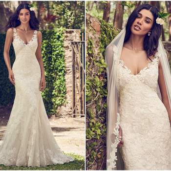"""Embroidered lace motifs cascade over tulle in this sheath wedding dress, completing the bodice, illusion V-neckline, illusion straps, and illusion back. Finished with covered buttons over zipper closure. Tulle veil with lace edging sold separately.  <a href=""""https://www.maggiesottero.com/maggie-sottero/charlotte/11162?utm_source=zankyou&amp;utm_medium=gowngallery"""" target=""""_blank"""">Maggie Sottero</a>"""