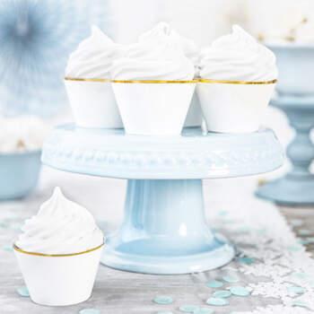 Envoltorio de cupcake blanco y dorado 6 piezas- Compra en The Wedding Shop