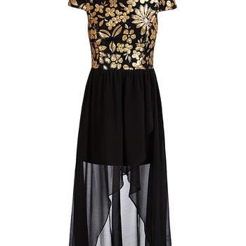 Vestido de fiesta con cuerpo con flores doradas y falda de gasa, de Dorothy Perkins. Foto: Dorothy Perkins