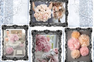 Bouquets de mariée et centres de table rose pastel