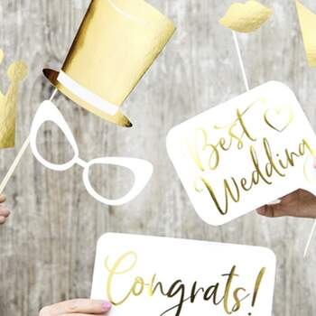 Accessoires Photocall Best Wedding Gold 10 pièces - The Wedding Shop !