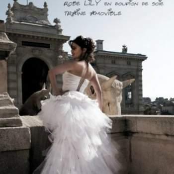 Robe de mariée Lily, Collection Mon Amour. Vue de dos. Crédit photo: Nathalie Elbaz Cleuet