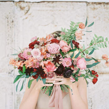 Bouquet de mariée fleurs roses Danielle Coons Photography