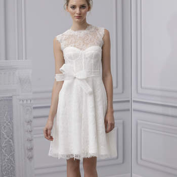 Vestido de noiva curto, de Monique Lhuillier 2013. New York Bridal Fashion Week Spring 2013.