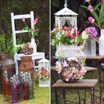 Elementos decorativos para bodas al aire libre y de estilo rústico.