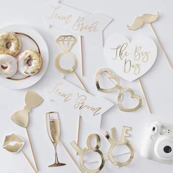 Accessoires Photocall Gold Wedding 10 pièces - The Wedding Shop !