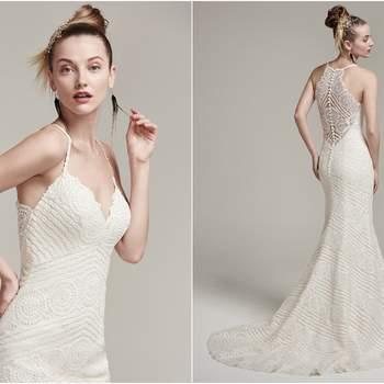 """Moderno e romântico, esse vestido em renda texturizada tem como destaque as costas, , com transparência localizada e sexy na medida!  <a href=""""https://www.maggiesottero.com/sottero-and-midgley/bexley/9847"""" target=""""_blank"""">Sottero &amp; Midgley</a>"""