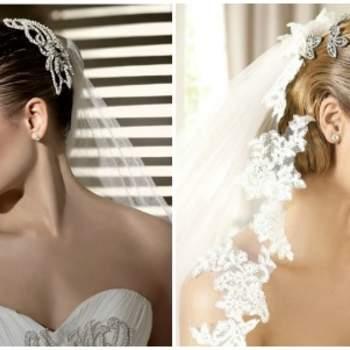 Due proposte di velo con abbinati accessori gioiello che valorizzano l'acconciatura una volta che il velo viene levato. Foto www.carnevalispose.com e www.pronovias.com