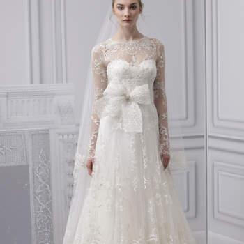 Vestido de noiva de Monique Lhuillier 2013. New York Bridal Fashion Week Spring 2013.